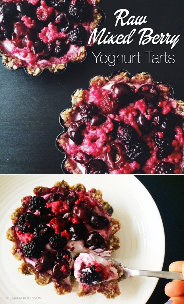 Raw Mixed Berry Tarts With Coconut Yoghurt (Paleo, Vegan)