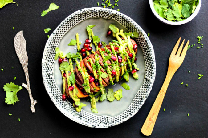 Baked Hassleback Sweet Potatoes with Avocado Aioli - Blissful Basil