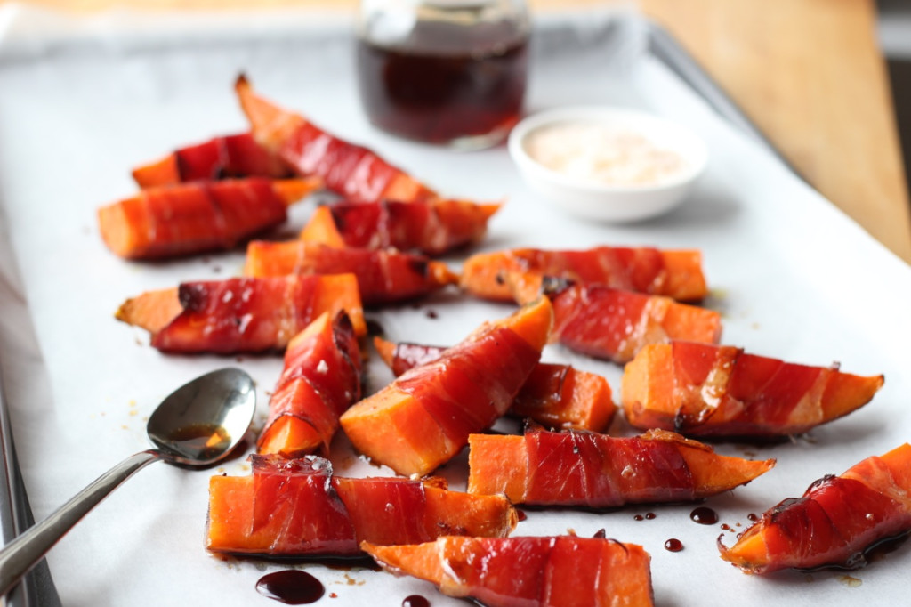 Prosciutto Wrapped Sweet Potatoes by Downshiftology