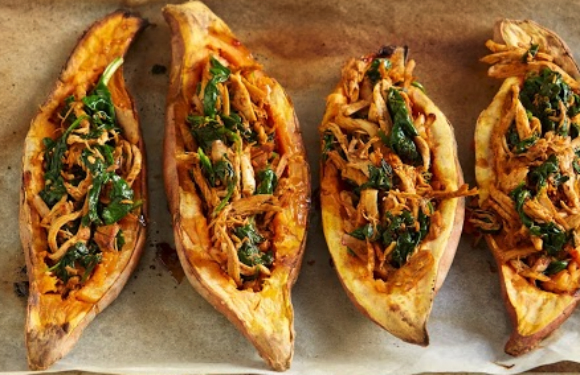 Mexican Chicken Sweet Potato Boats by I Quit Sugar