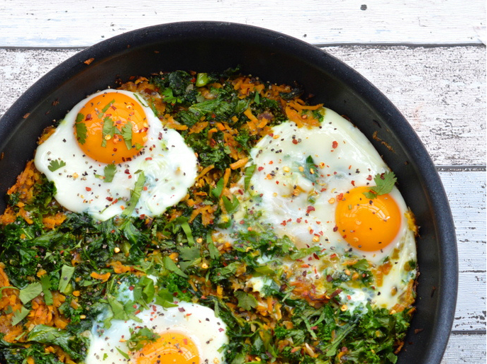 Sweet Potato and Kale Rosti with Baked Eggs by Paleo with Mrs P