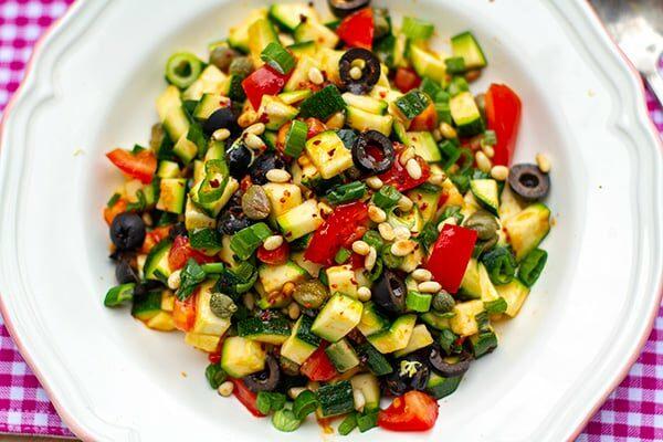 Raw Zucchini Caponata Salad