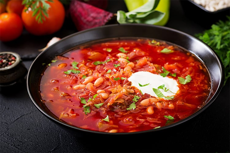 Borscht with beans and beef