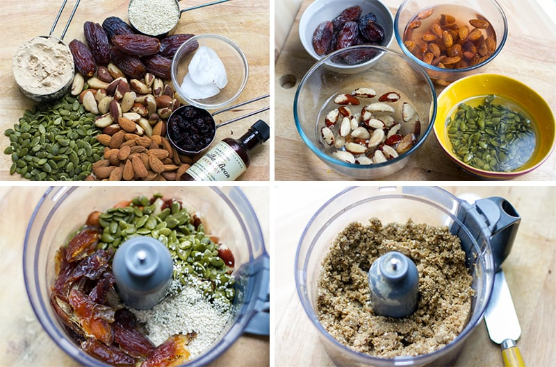 How to make energy bars - soaking nuts and seeds and processing the mixture