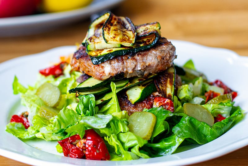 Ground lamb burgers with feta and olives