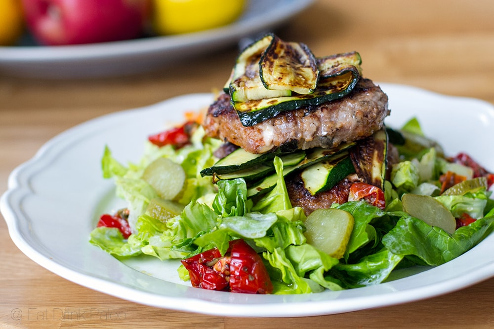 Lamb burgers with feta and olives