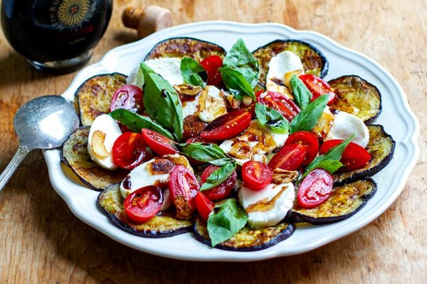 Eggplant Caprese Salad With Tomato & Mozzarella