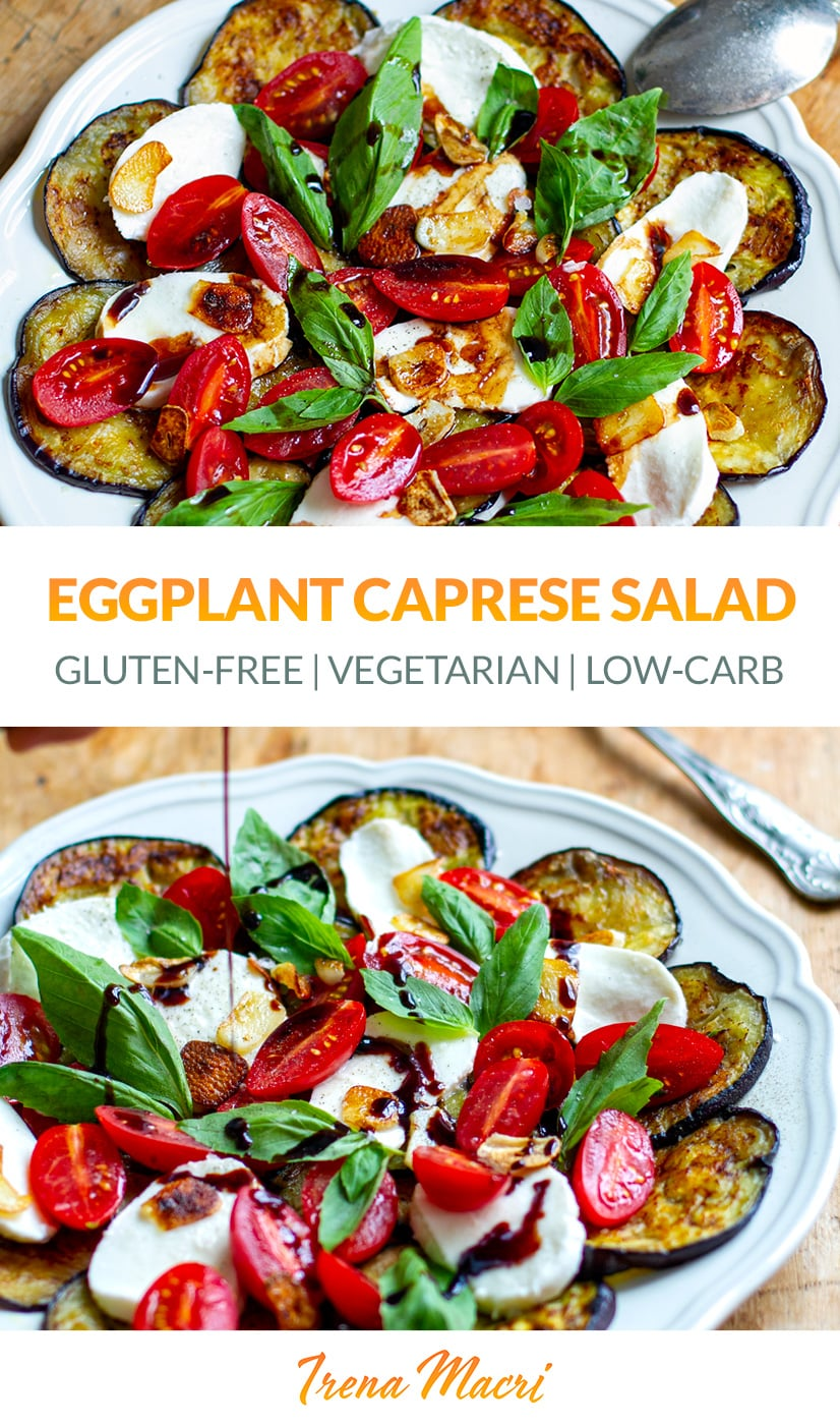 Eggplant Caprese Salad With Balsamic & Crispy Salad