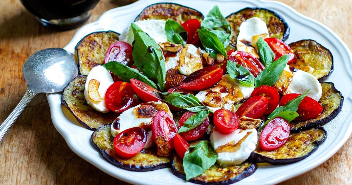Eggplant Caprese Salad With Balsamic & Crispy Salad