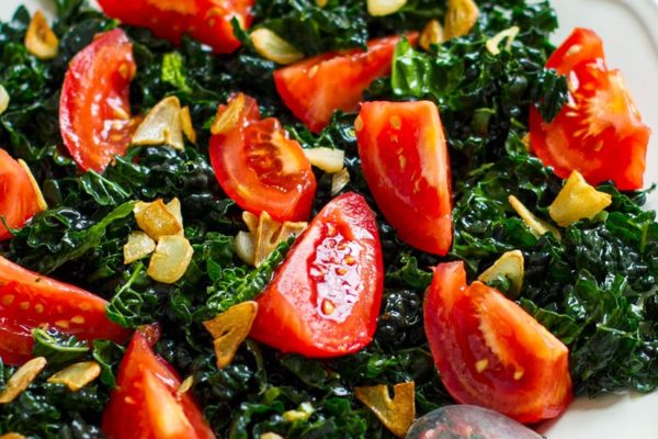 Simple Cavolo Nero (Tuscan Cabbage) With Fried Garlic Oil & Tomatoes