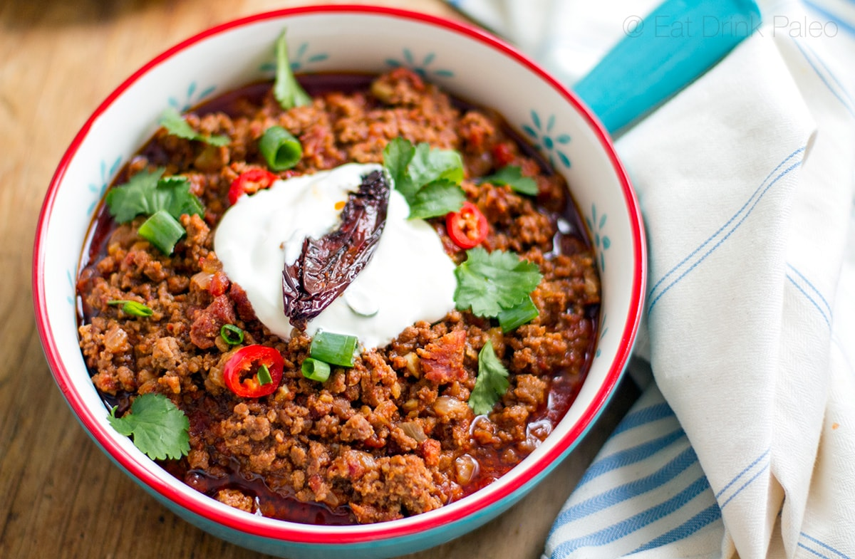 Paleo Beef Chili with Beef, Chorizo & Chipotle