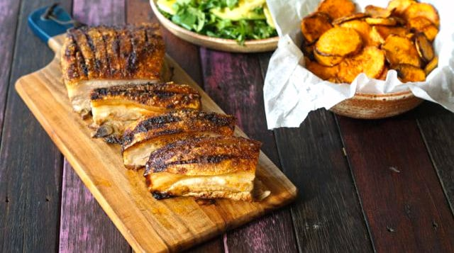 Pork belly roasted