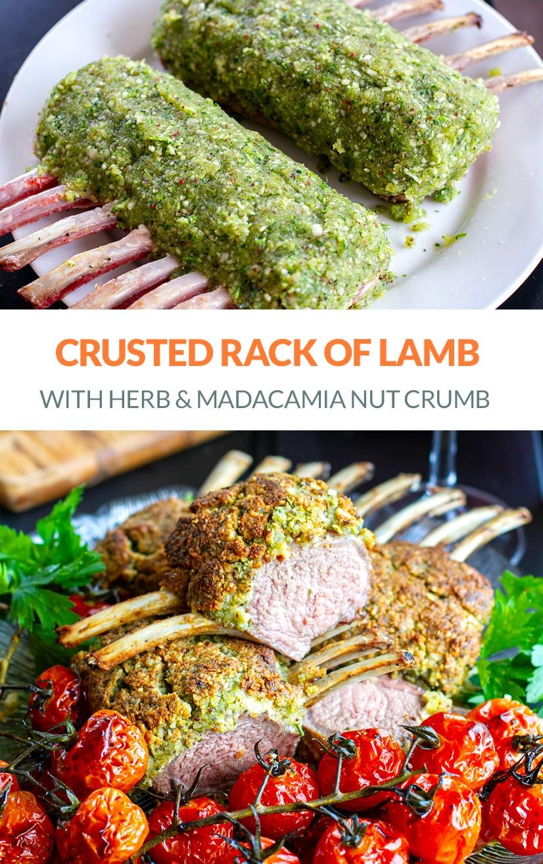 Crusted Rack Of Lamb With Herbs, Macadamia Nut & Garlic