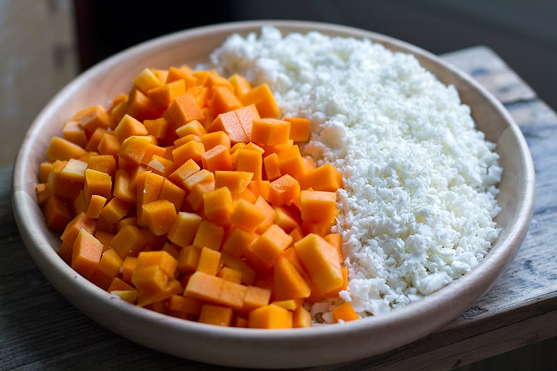 Diced pumpkin and cauliflower for making dal