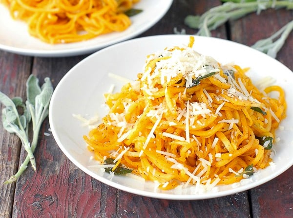 Spiralized butternut squash noodles