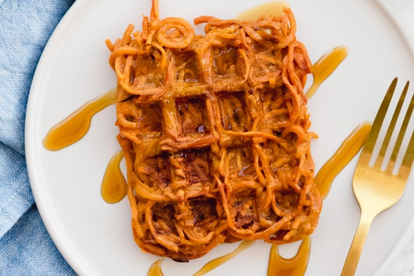 Spiralized sweet potato waffles