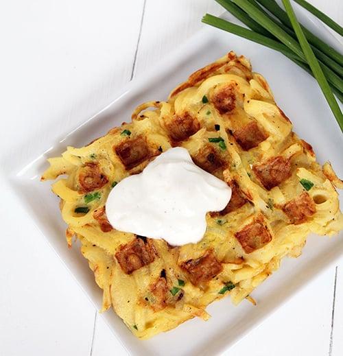 Savoury spiralized parsnip waffles
