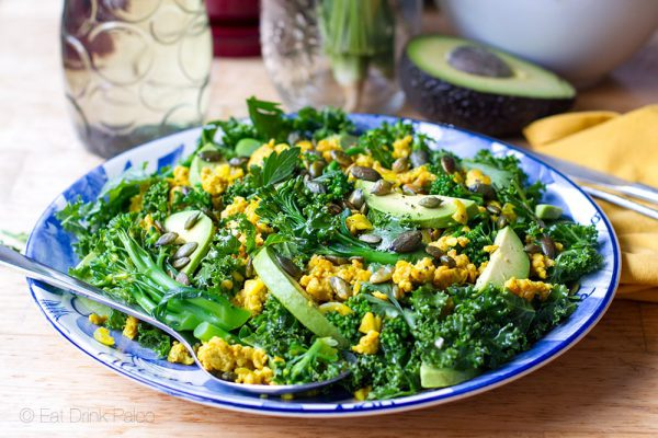 Turmeric Chicken & Kale Salad with Honey Lime Dressing - paleo, gluten free, clean eating recipe.