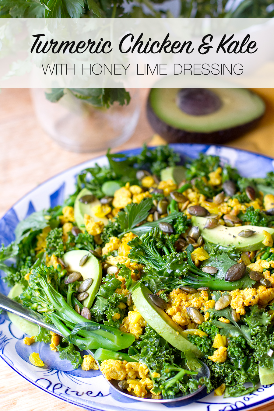 Turmeric Chicken & Kale Salad with Honey Lime Dressing - Paleo, Gluten Free, Low Carb, Whole30 and Clean Eating Friendly.