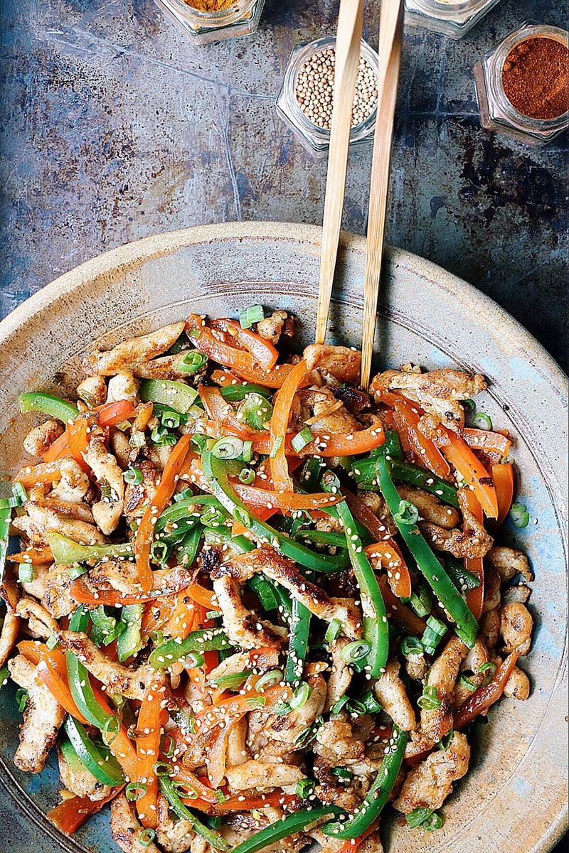 Chinese Crispy Shredded Chicken With Bell Peppers