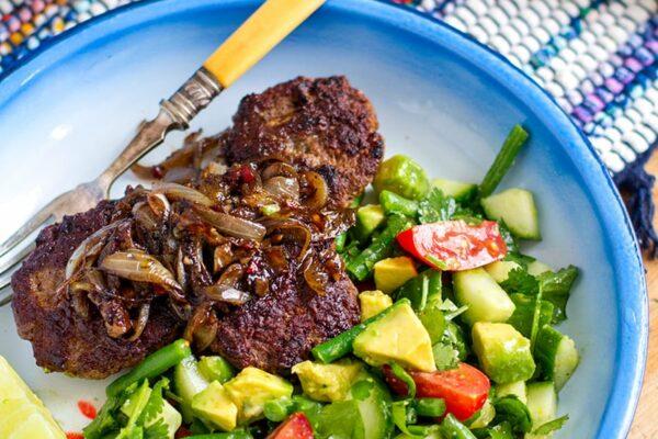 Healthy Beef Burger Patties With Jerk Onions & Avocado Salad