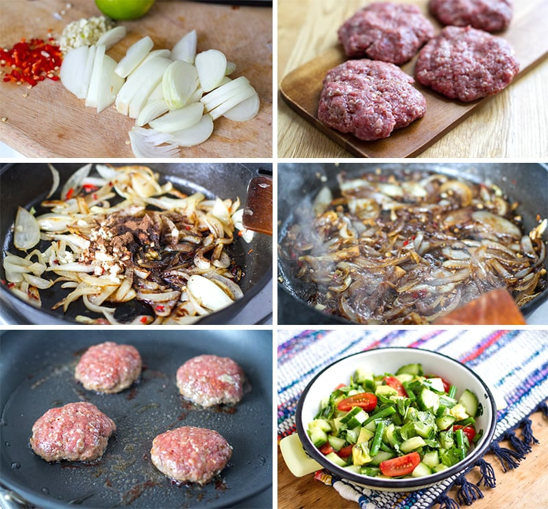 How to make beef burger patties with jerk onions