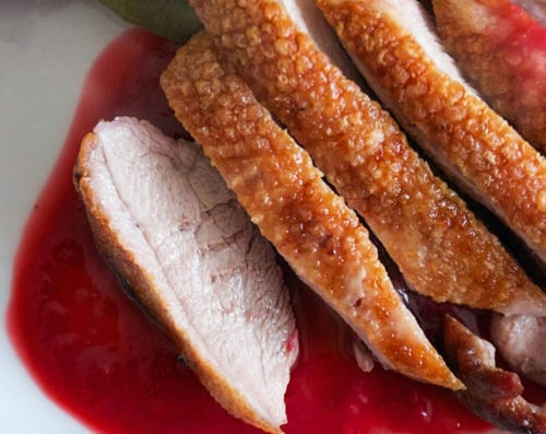 Roasted duck breast with sauce
