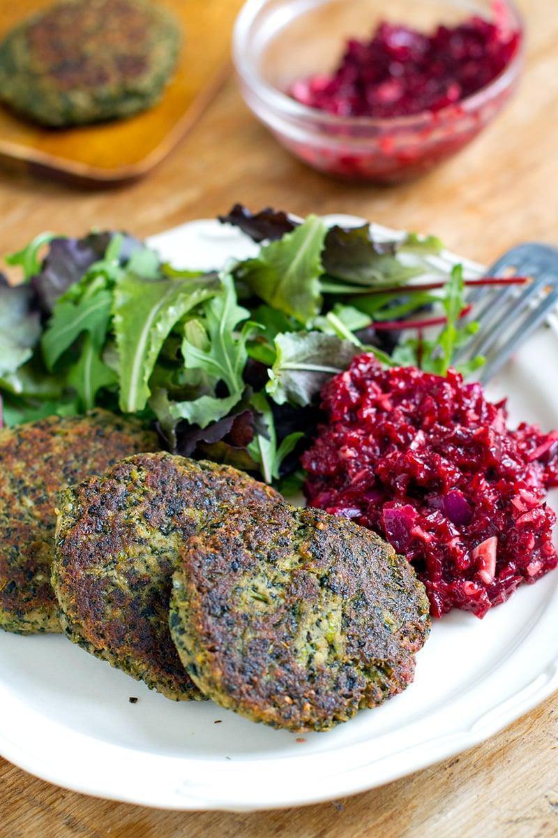 Tuna Patties With Kale & Beetroot Horseradish Relish