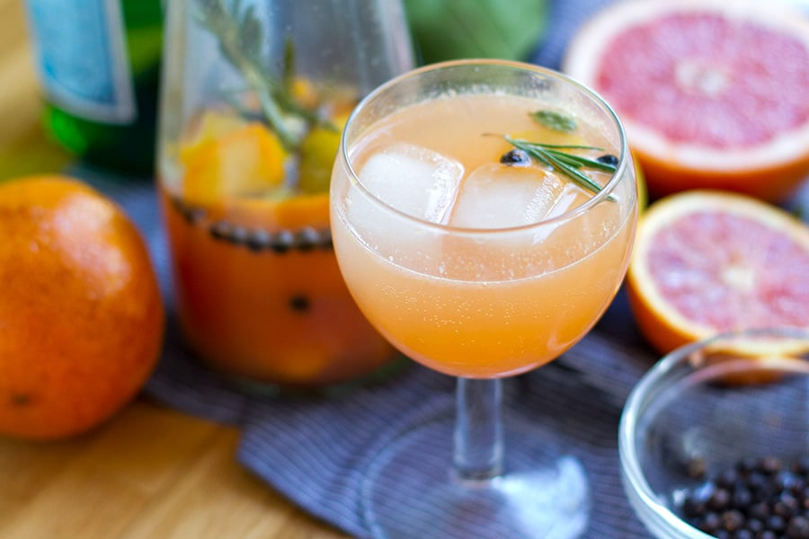 Alcohol free gin and tonic inspired mocktail