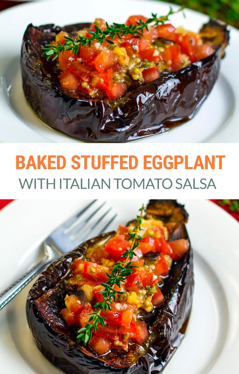 Baked Eggplant Stuffed With Italian Tomato Salsa (Vegan, Paleo, Gluten-Free, Vegetarian, Whole30)