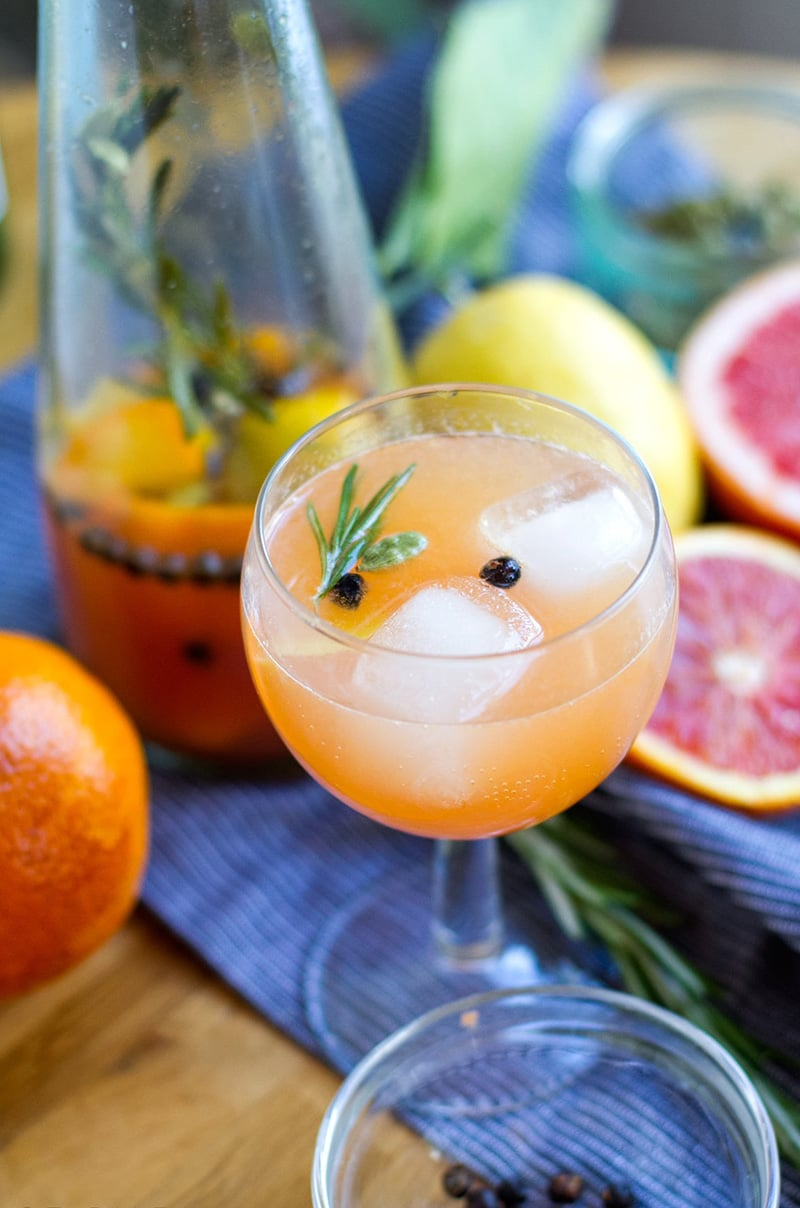 Non alcoholic gin and tonic drink with citrus and botanicals infusion