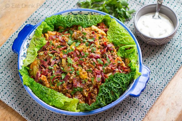 Unstuffed cabbage rolls with crispy bacon