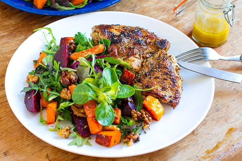 Chicken with pumpkin salad
