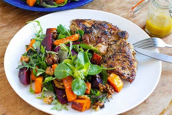 Roasted pumpkin beet salad with chicken