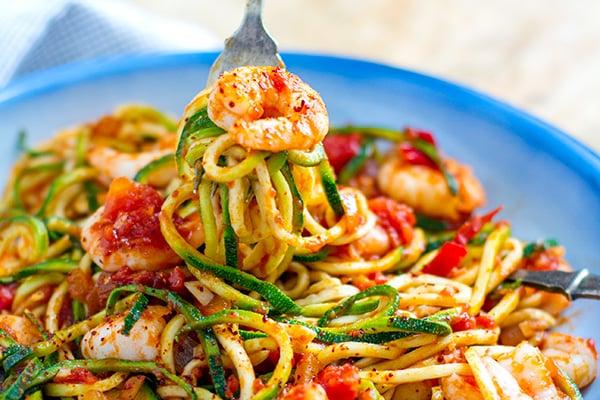 Prawn zucchini pasta