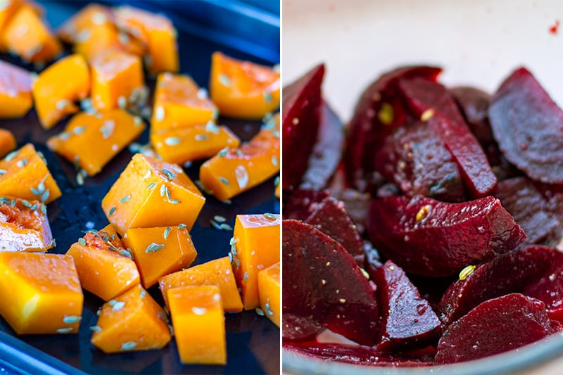 Roasting pumpkin for salad