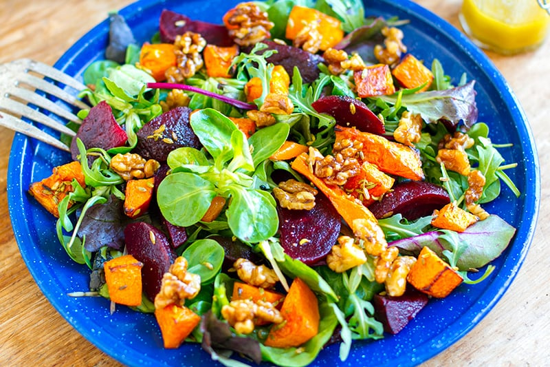 Roast Pumpkin And Beetroot Salad With Maple Walnuts