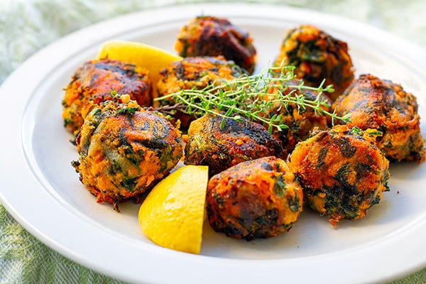 Sweet Potato Balls With Spinach (Paleo, Gluten-free, Vegan, Whole30)