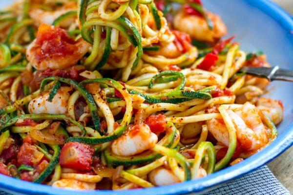 Zucchini Spaghetti Prawn Arrabbiata Pasta Recipe