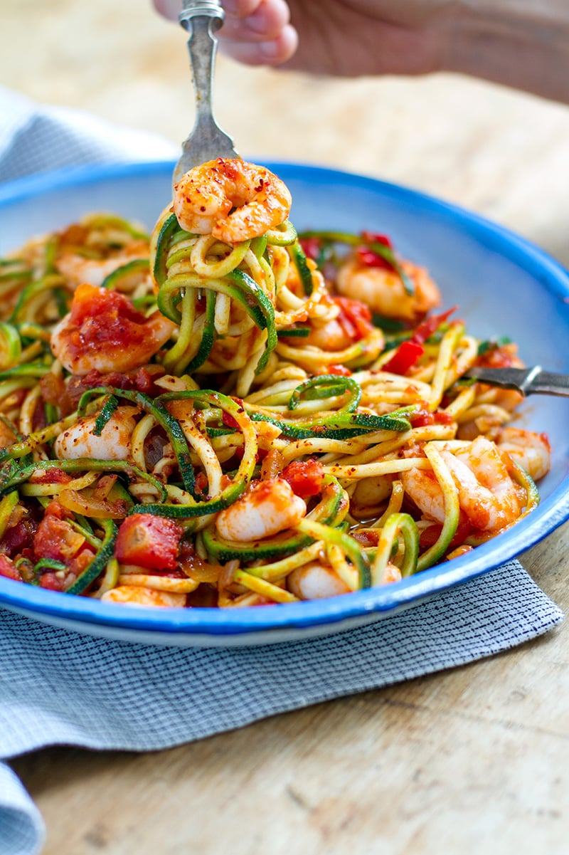 Zucchini Spaghetti Shrimp Arrabbiata Pasta Recipe