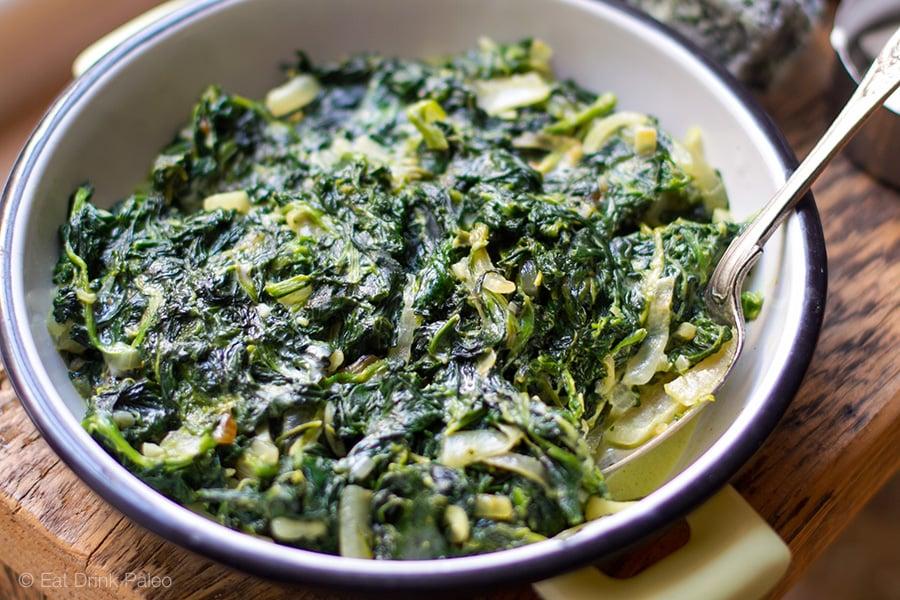 Paleo Creamed Spinach - Dairy-Free, Gluten-Free Recipe