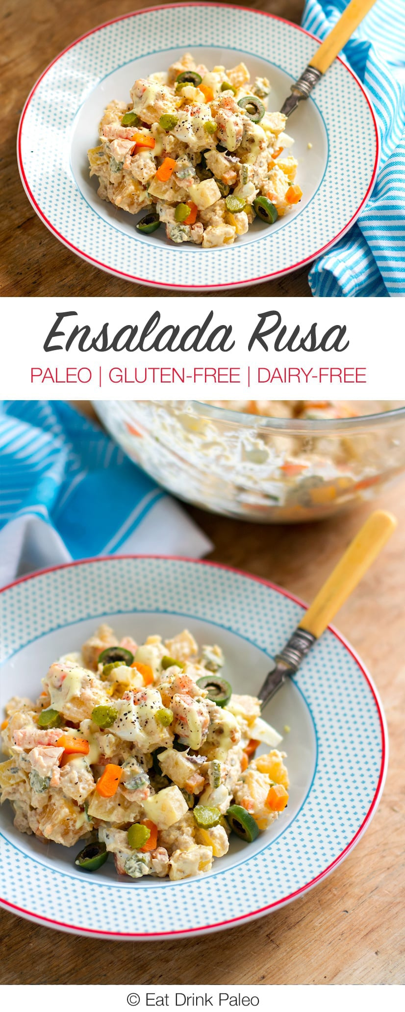 Ensalada Rusa Recipe - Gluten-free, Dairy-free, Paleo friendly potato salad.
