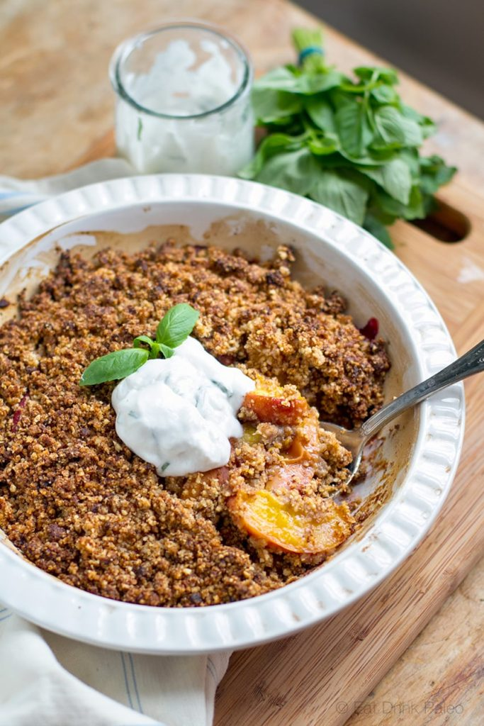 Paleo Peach Crisp With Basil Coconut Yoghurt