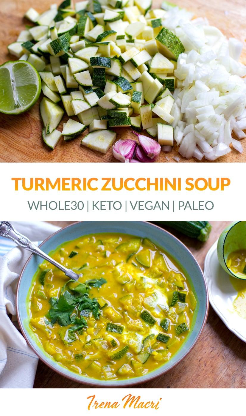 Turmeric Zucchini Soup (Paleo, Vegan, Keto)