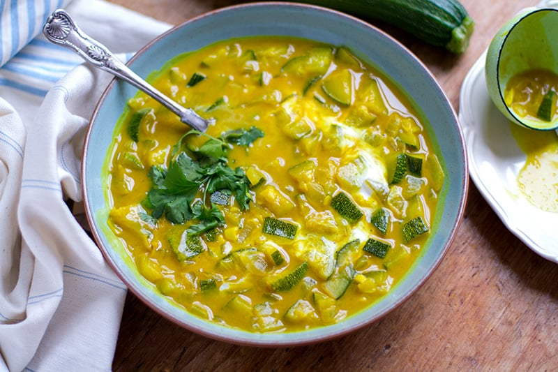 Anti-inflammatory soup with turmeric and zucchini in coconut milk. Paleo, gluten-free, dairy-free and vegan friendly.