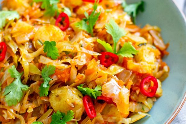 Braised Cabbage Potatoes & Chilli - This is a delicious cabbage meal that is paleo and vegan friendly