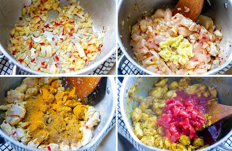 Making chicken tikka masala step 1