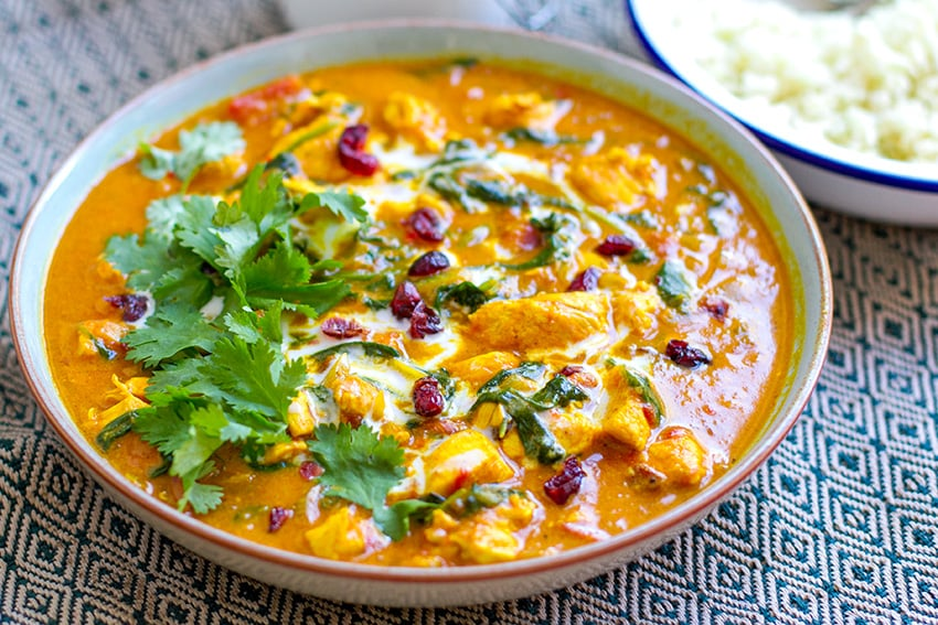 Paleo Chicken Tikka Masala with Spinach & Cranberries