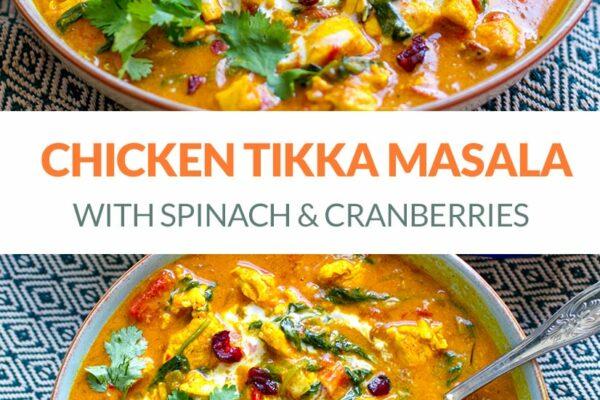 Paleo Chicken Tikka Masala With Spinach & Cranberries