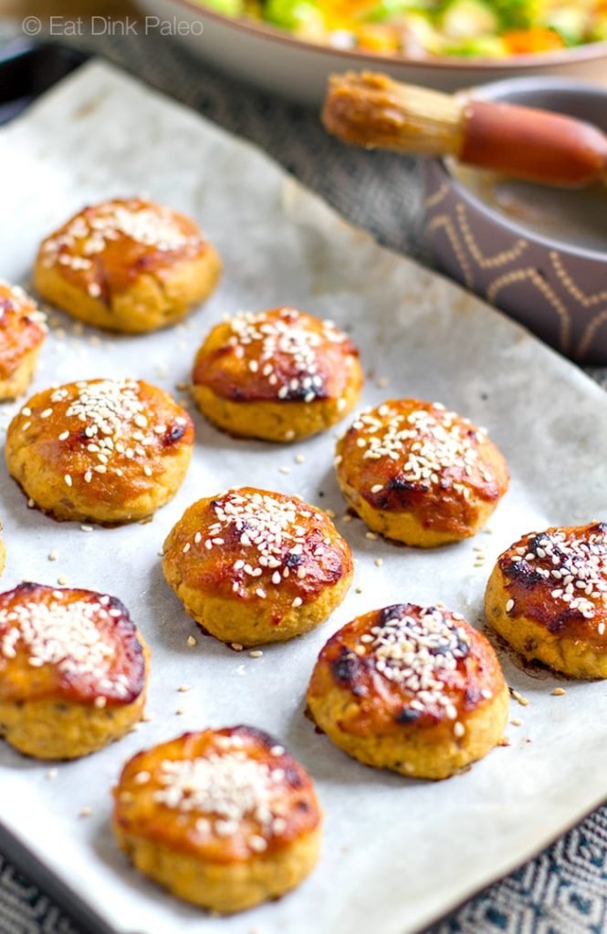 Baked Salmon Balls With Miso Honey Glaze - Gluten-free, paleo recipe